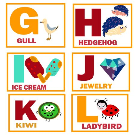 educational cards themed alphabet from g to l,vector, cute characters