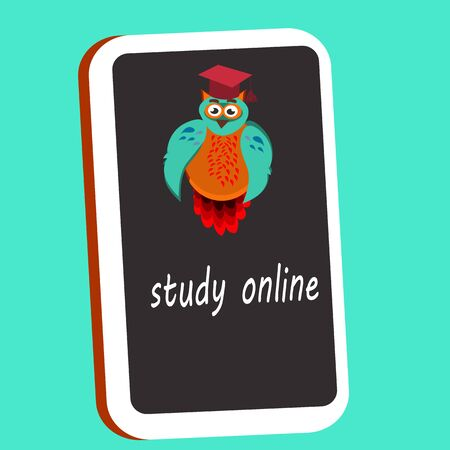 e-learning design background, vector illustration, study online. Иллюстрация