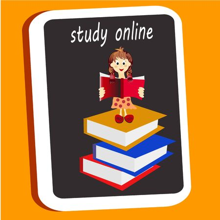 Girl sttanding on pile of books with open book in her hands. Concept illustration of e-learning, distance studying and self education. gir cute character in trendy flat style.