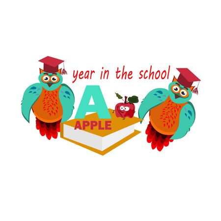 study year concept wih owl, student in cap with books, vector,final Vettoriali