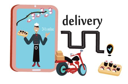 Vector of smartphone and sushi for Ecommerce concept, online shushi delivery Ilustración de vector