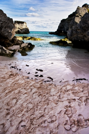 Iddylic landscape on Bermuda beach at dawn photo