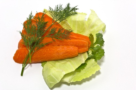 verdure: cabbage, carrot and verdure on white background Stock Photo