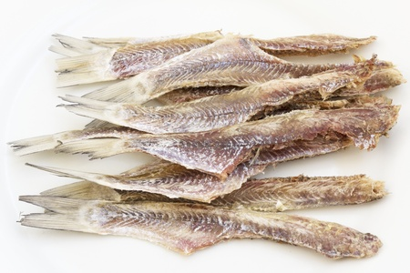 cleaned: dried cleaned fish on white background