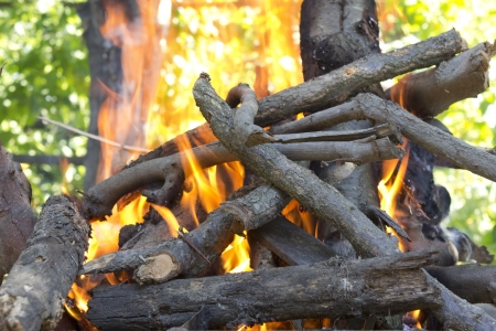 powerfully: powerfully burning flame on firewood Stock Photo
