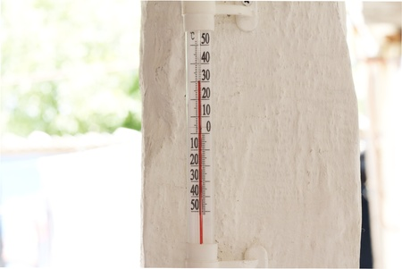 celsius: mercury thermometer showing thirty degrees on celsius