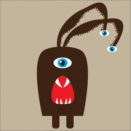 vector illustration of a cute brown monster Vector