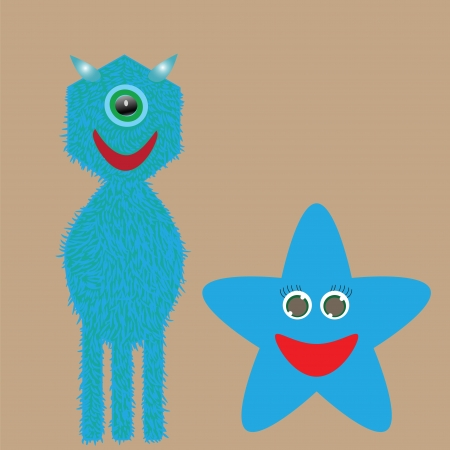 two cute monster on a light background Vector