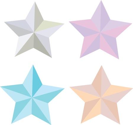 collection of 3D star illustration, vector  Illustration