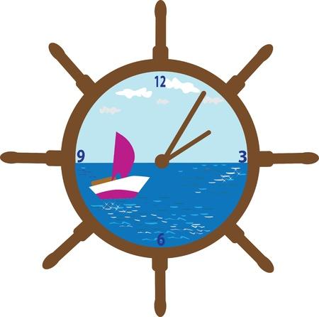 clock-wheel design  cute illustration