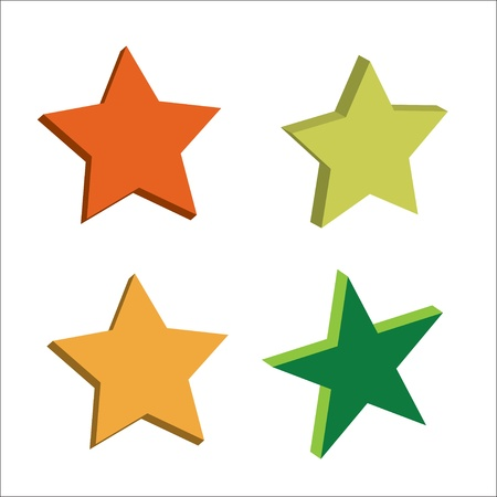 collection of 3D stars, vector illustration