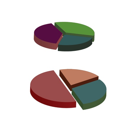 two graphical charts, vector illustration