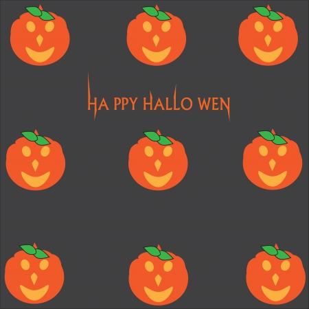 Vector card with cute pumpkins