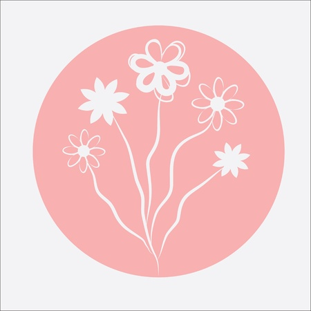 birthday gift: abstract floral card, graphic  illustration