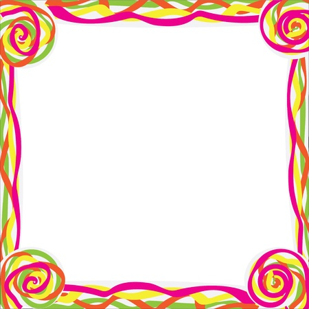 frame with color curl, isolated on white background,  illustration  Illustration