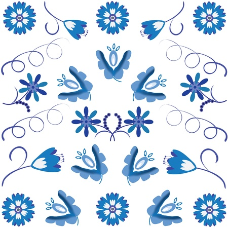 a picture or a background with a traditional Russian ornament Gzhel (make Russian ceramics). Illustration