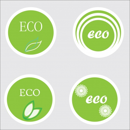 Eco stickers, labels, illlustration.