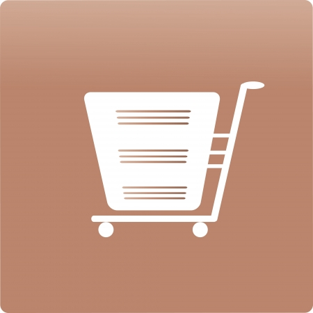shopping cart icon on a brown background , illustration. Illustration
