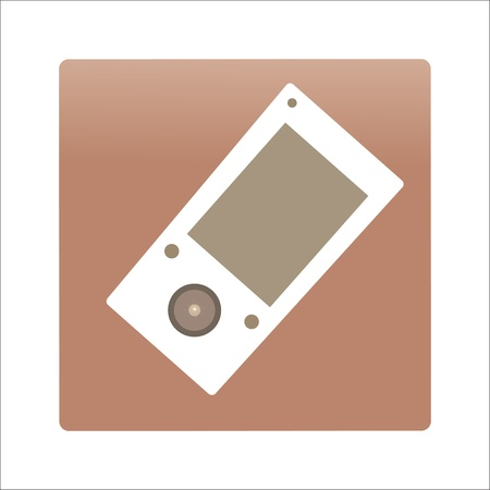 icon of stylish cell phone on a light brown background, vector.