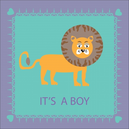 Beautiful birthday card with a cute cartoon lion on a blue background, vector illustration  Illustration