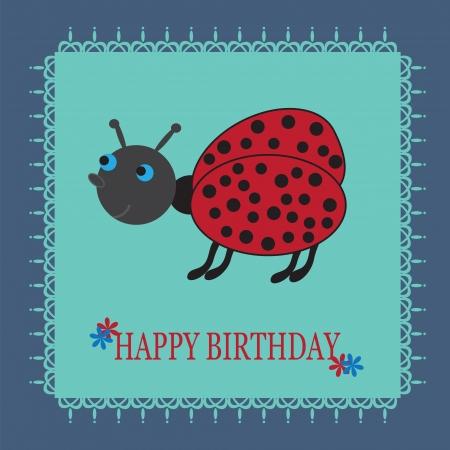 Beautiful birthday card with a cute cartoon ladybug  on a blue background Vector illustration  Illustration