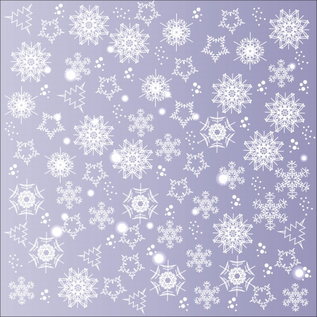 Cute winter background of snowflakes, vector illustration