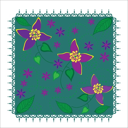Cute floral illustration, design element or cover, vector  Illustration