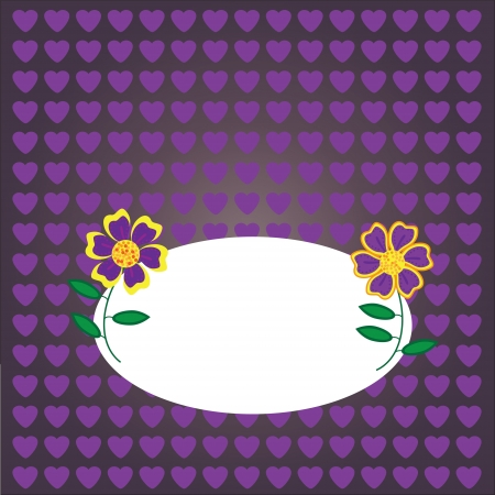 card with place  for text on a purple background with flowers, vector illustration  Illustration
