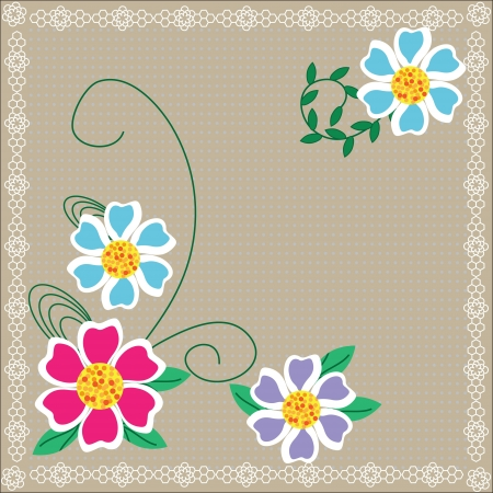 bright floral card  for design
