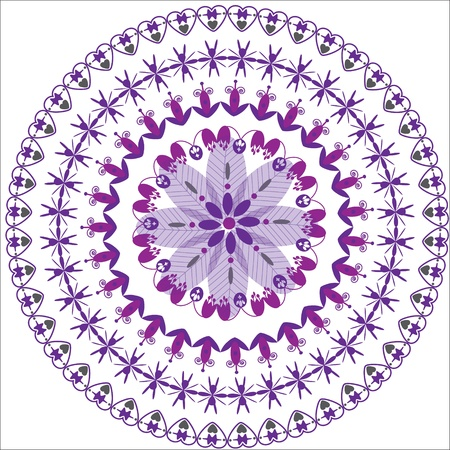 circular floral ornament, cute illustration Illustration