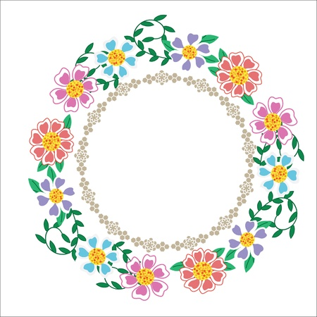 Cute frame with blue, lilac and pink flowers,  illustration Illustration