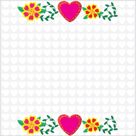 Bright frame with pink flowers on a white background for your design, vector