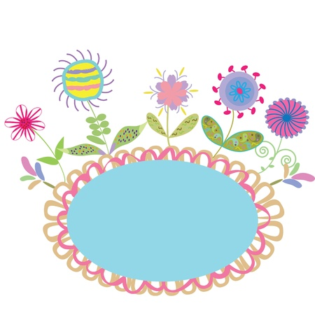 Cute frame with violet blue pink flowers and a place for text, vector