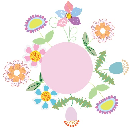 Cute frame with violet, blue, orange, pink flowers and a place for text, vector