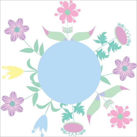 Cute frame with lilac, pink, blue, yellow flowers with place for text, vector Illustration