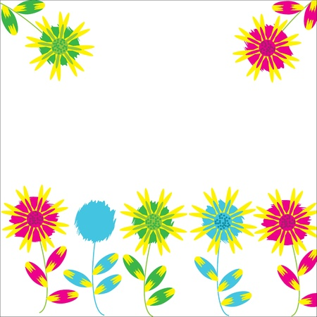 Bright frame with  pink, blue, yellow, green fantasy  flowers with place for text, vector