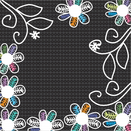 greeting card background: Bright flowers on a black background, hand drawing, vector