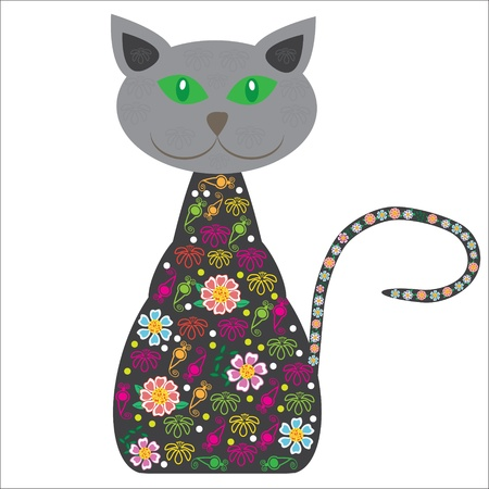 Silhouette of a cat with pretty flowers on a white background for your design, vector   Vector