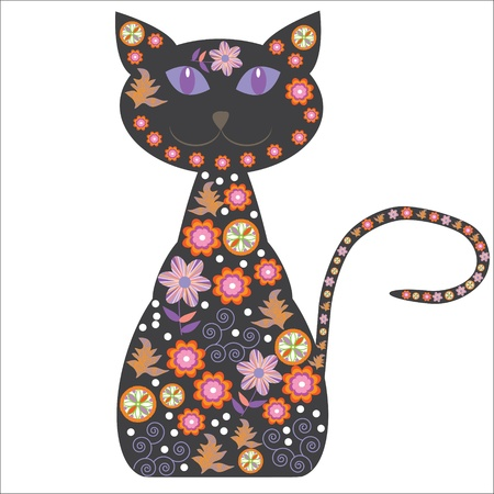 Silhouette of a cat with pretty flowers on a white background for your design, vector