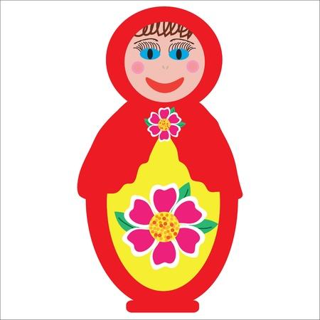 Colorful Russian folk doll Matryoshka to design dishes, covers and other purposes, isolated, vector Vector