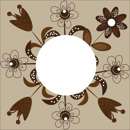 package printing: An attractive card with flowers in shades of brown for congratulation, design greeting cards, for backgrounds and other purposes, vector