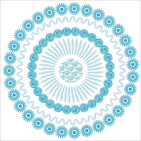 Abstract graphic circular floral blue background  for design covers, clothes, dishes, packing and other purposes, isolated, vector illustration.