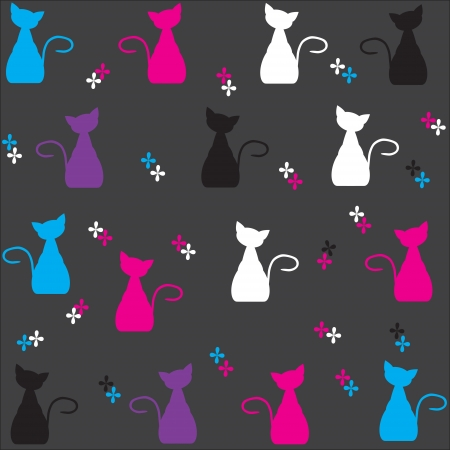 Cute color cats pattern. Vector illustration  Vector