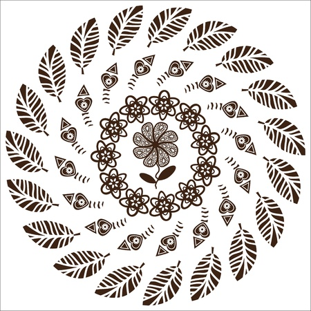 fret: Circular pattern of flowers for a variety of purposes, vector, isolated