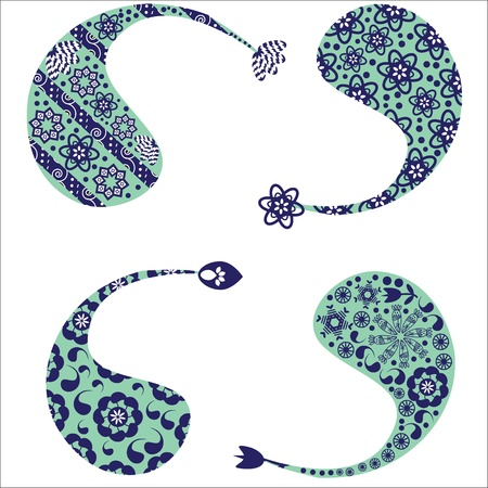 Four cute  pattern of Turkish cucumber(Paisley pattern)  for different design Stock Vector - 22141347