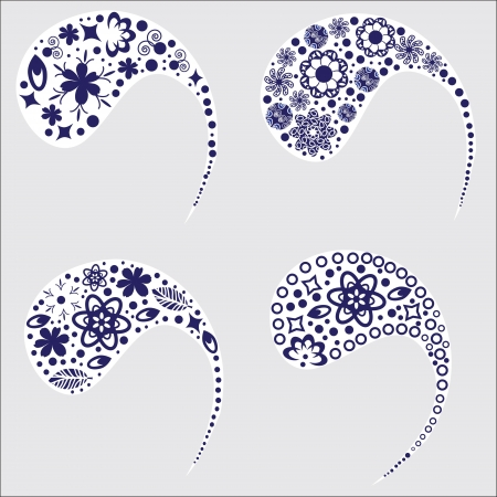 Four cute pattern of Turkish cucumber(Paisley pattern)  for different design, vector, isolated 
