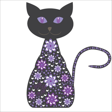 Silhouette of a cat with flowers on a white background for design tableware, packaging, greeting cards and other purposes, vector, isolated   Vector