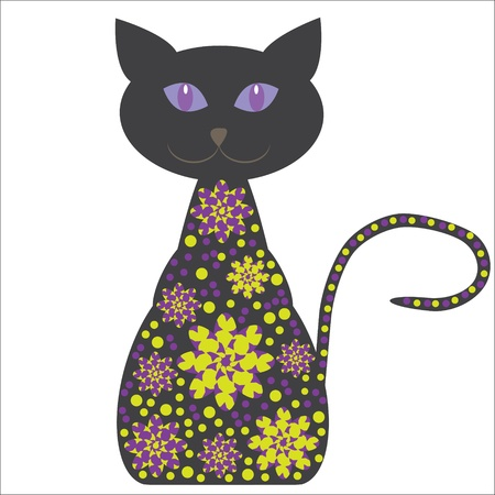 Silhouette of a cat with flowers on a white background for design tableware, packaging, greeting cards and other purposes
