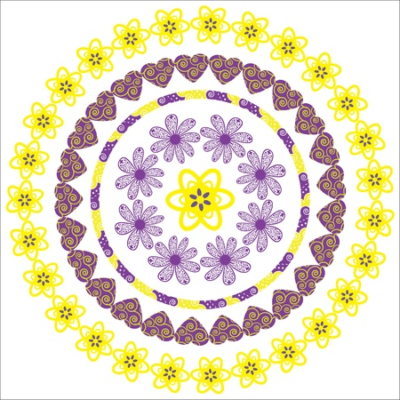 Circular pattern of flowers for a variety of purposes  Illustration