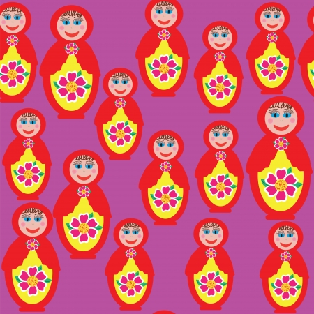 Bright seamless pattern with a Russian matryoshka doll  Vector